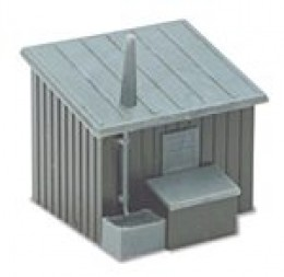 Ratio plastic platelayers' hut from a kit, plus coal bunker and drainpipes. Replace the clumsy-looking chimney stack with a piece of thin tubing, like the metal tube from a Revell 'Contacta' bottle. Use these for any kit-bash project  inc. drainpipes