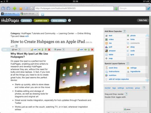Creating this very HubPage on my iPad with Perfect Web Browser
