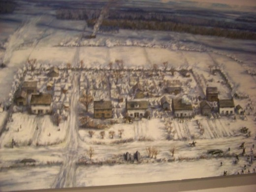 Drawing of Frenchtown displayed in Visitor Center.
