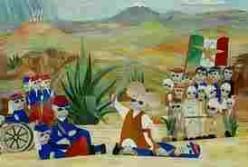 An artistic and imaginative rendering of the Battle of Puebla (Cinco de Mayo)