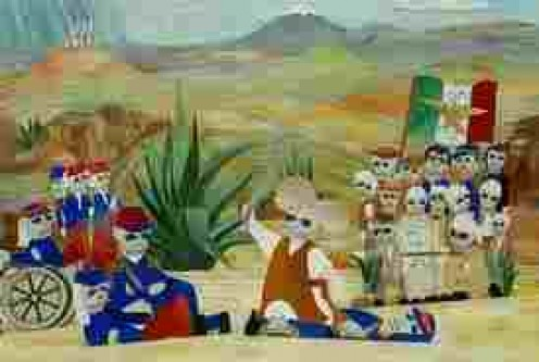 An artistic and imaginative rendering of the Battle of Puebla (Cinco de Mayo)