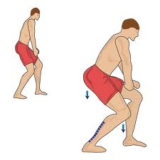 Shift your weight as the direction arrows in the picture indicate. Feel the stretch in the lower calf muscle (soleus). Hold for 15-20 seconds, repeat 4 times