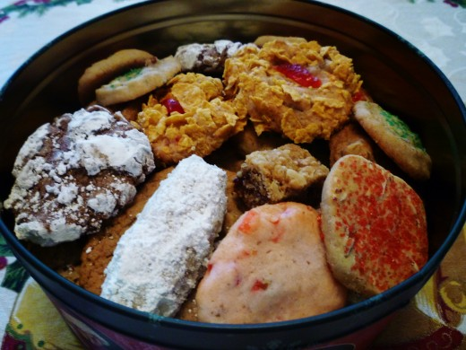 Assorted homemade Christmas cookies ready for giving as gifts.