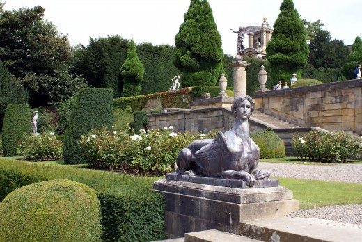 Impressive garden statuary is appropriate for this large formal garden.