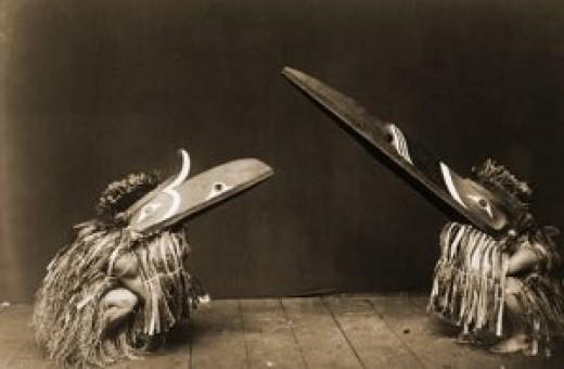 Figure 4: Hokhokw and Raven Masks. Edward Curtis photo, 1910.