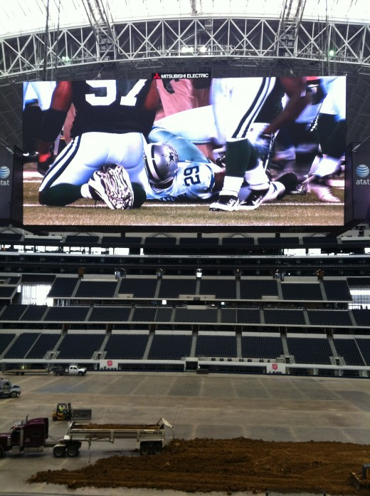 "The jumbo tron, hailed as the ""Jerry tron"" with a semi truck for scale."