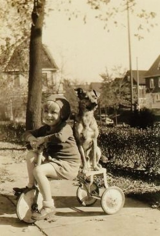 My mother with Jiggs, the family pet on the back of her bike in Milwaukee, Wisconsin.
