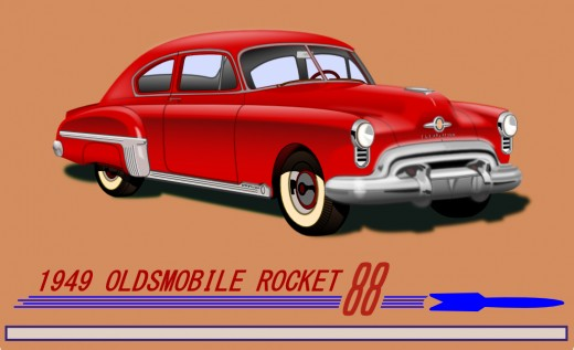 1949 Olds Rocket 88. Illustration by Doc Sonic.