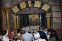 A crush of visitors look at the recreation of the Chapel of the Annunciation in Nazareth.