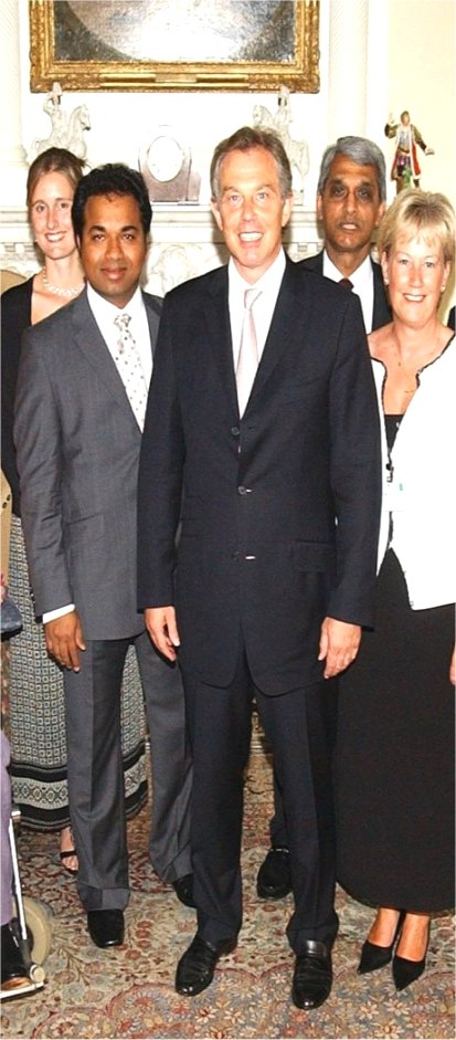 Docmo (left )  with Previous UK Prime Minister Tony Blair, at No: 10 Downing Street. It was for leadership in Primary Care and Education. A proud moment of my life.