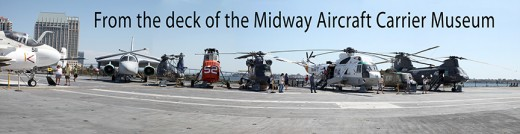 A panorama taken on the flight deck of the Midway, where many planes and helicopters are on display and where guests can walk inside.