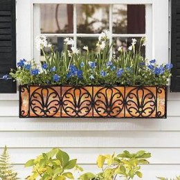 Window boxes don't always need to be made of wood. Mix summer planting in with some herbs or one or two small vegetables.