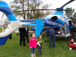 Grace and Alex thought the medivac helicopter was very cool.