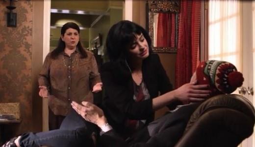 Chloe, trying to seduce the wrong man.