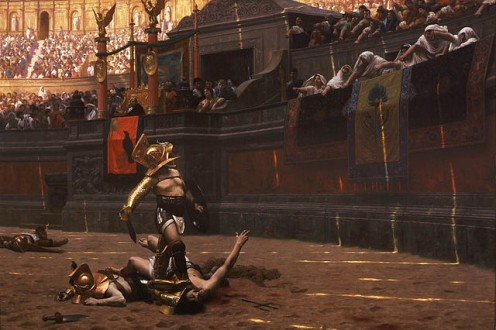 "Jean Leon Gerome's ""Pollice Verso."" Gladiators have been sensationalized in the movies recently. In Rome, before the fall,  it was sport to watch a man fight until battered and bruised or take another's life just because he could."