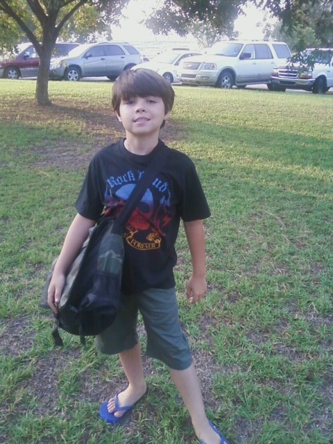 Jonathan's entire outfit, including his bookbag, came from the Childrens Place.