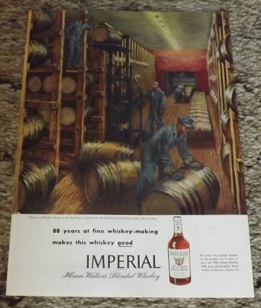 1946 Hiram Walker's Blended Whiskey Print Ad (Art by Howard Baer)