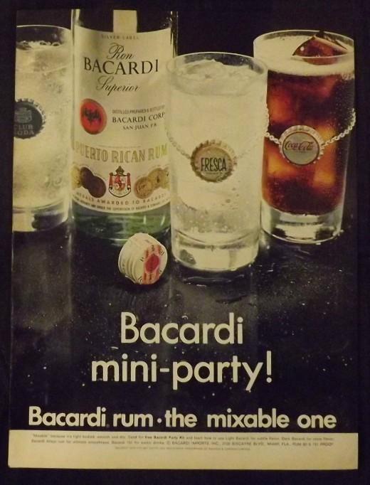 1968 Bacardi Rum Print Ad
