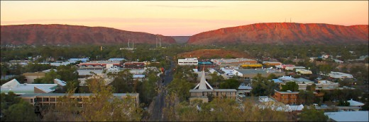 Sunrise view from ANZAC Hill of the MacDonnell Ranges stretching east and west of Heavitree Gap.