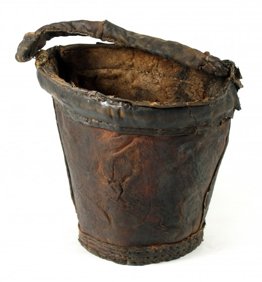 A leather bucket. This one was found on the wreck of the Mary Rose.