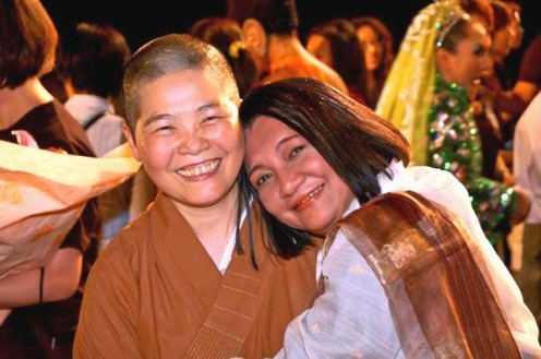 I love this photo with Pu Men Temple's Head Abbess Ven. Master Yung Guang. It captures the tender embrace of two faiths (Buddhists & Catholics) taken by Erwin Go right after our last performance in Taiwan.