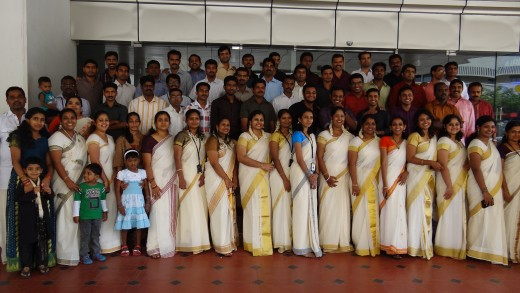 My Company (Exalt) in traditional wear celebrating ONAM (festival of kerala) ; photo shoot in front of Thejaswini Building