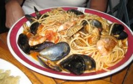 Seafood pasta for lunch at Bajamonti's a top rated restaurant at the far end of the Prokurative. It was named after the former mayor, Antonio Bajamonti, and is located in the former theater which he built with his own funds.