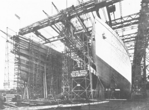 R.M.S Olympic complete R.M.S Titanic still being contructed