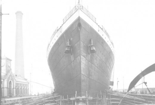 R.M.S Titanic in the dry-dock prior to being launched for her fitting