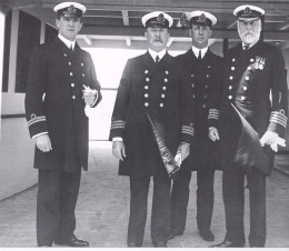 Some of R.M.S Titanic';s Officers with Captain Smith.   First Officer William Murdoch; Second Officer Charles Lightoller; Chief officer Henry Wilde; Captain Smith
