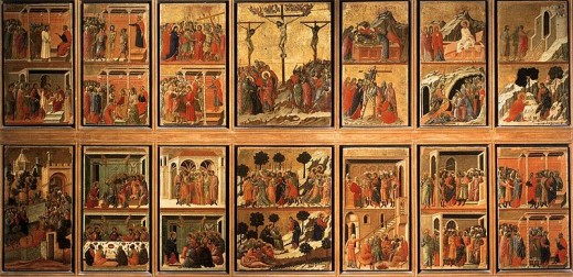 The reverse side of the Maesta, with images from the story of Christ's life. Many of these images are scattered today.