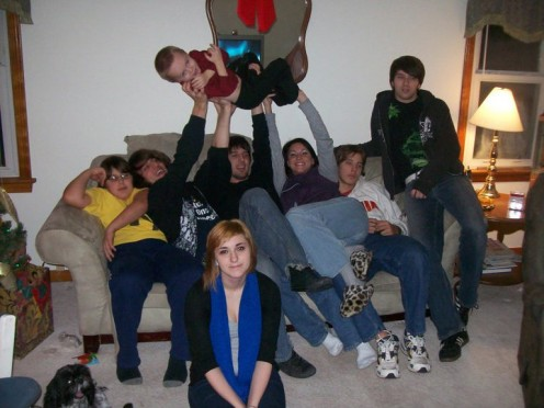 Bradley, Michael, Kevin, Tiffany, Zachary, Billy, Jenna (in front) and Owen (in the air).