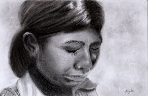 """Sad"" 5"" x 4"" Pencil and carbon. [ Sold ]"