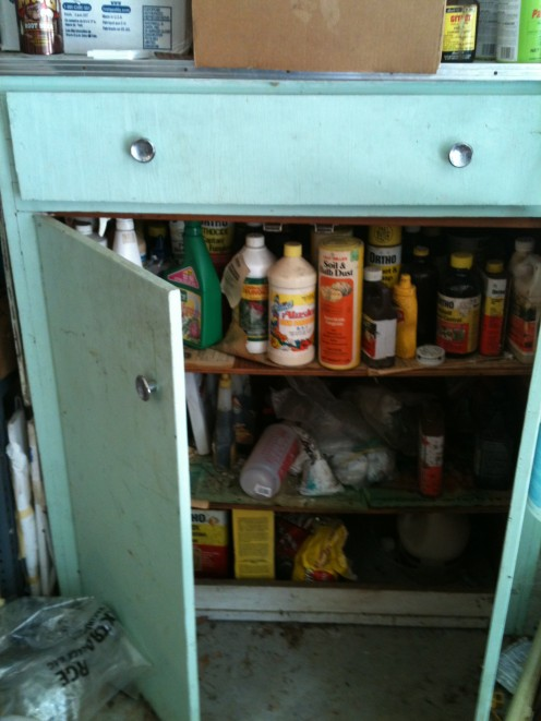 ...but when you open the doors and look inside.  Whoa!!!  Stop!!!  We haven't used these pesticides in years and apparently we weren't as smart years ago, so most of this stuff needs to be disposed of.  Check out some of the photos below to see why.