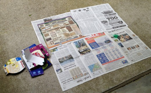 Step 1:  Cover area with newspaper and have some cut out paperboard handy