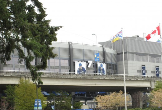 The Vancouver Canucks hockey arena is next to the BC Place stadium