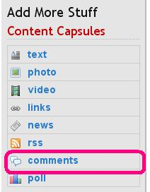 How to select comment capsule [marked as pink rectangle]