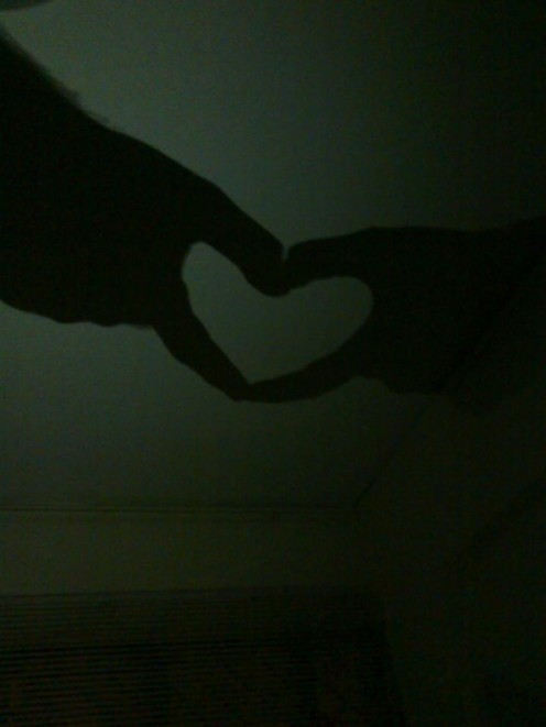 Together we create beautiful world.  (hand shadow of mine and my hubby)
