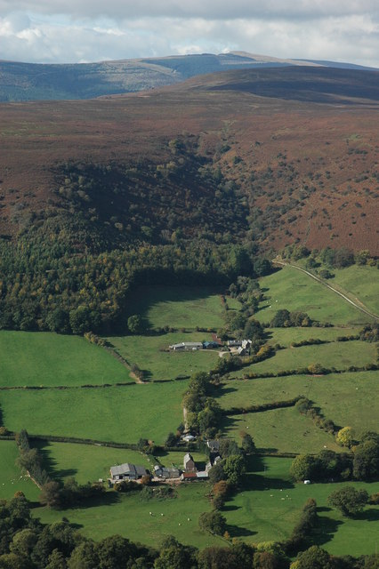 """Author notes: """"View from Hatterrall Hill over the Vale of Ewyas to Lower and Upper Henllan with open upland expanse of the Black Mountains above. On the horizon Pen-y-Gadair can be seen at 800m the second highest point in the Black Mountains."""""""
