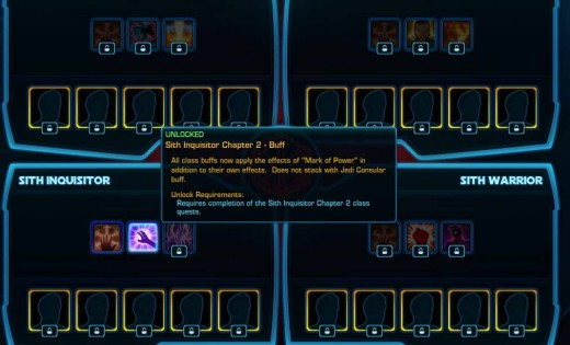 SWTOR Legacy System - As the sith inquisitor advances in his class quest, his buff ability Mark of Power becomes available