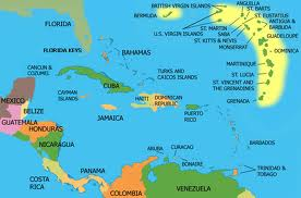 Map of the Caribbean showing where coffee plants began germinating around 1720, in Martinique, Haiti.