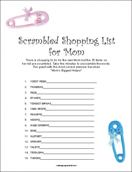 where to find free printable games for a baby shower online