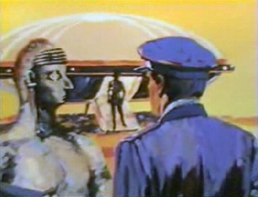Depiction of an alleged meeting between aliens and military officials at Holloman AFB on March 25, 1964.