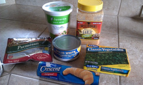 Ingredients for Tuna and Spinach Bake