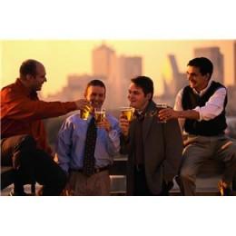 Guys enjoying beer