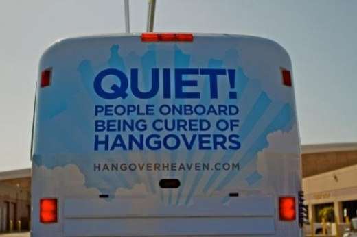 "The back of the newly created ""Hangover Heaven"" bus. This might be a business that ""takes off!"""