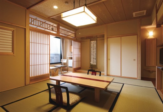 A traditional Japanese-style tatami room.
