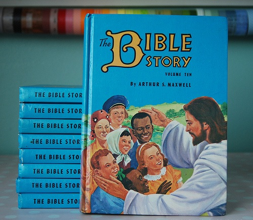 """this is the Bible Story book she is encouraging everyone to buy for their kids"""