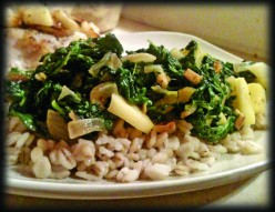 Spinach with Ginger and Apples over Barley