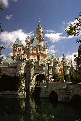 A picture of the sleeping beauty castle, located in California's Disneyland.